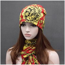 Russia Women Long knitted Scarf and Hat Set Luxury Winter Warm cotton Hat+scarves two-piece for Lady and Men's