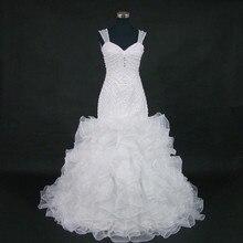 Qq 恋人セクシーな背中アフリカマーメイドウェディングドレス 2020 高級ビーズの花嫁衣装ローブ · デのみ