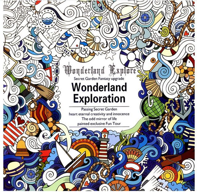 1 PCS 24 Pages English Version Wonderland Exploration Coloring Book For Adult Relieve Stress Graffiti Drawing