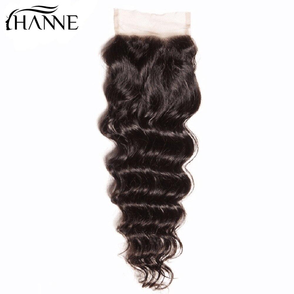 HANNE Hair Remy Virgin Hair Sexay Brazilian Natural Wave 4X4 Lace Closure 100% Virgin Human Hair Closure Free Ship 1B #