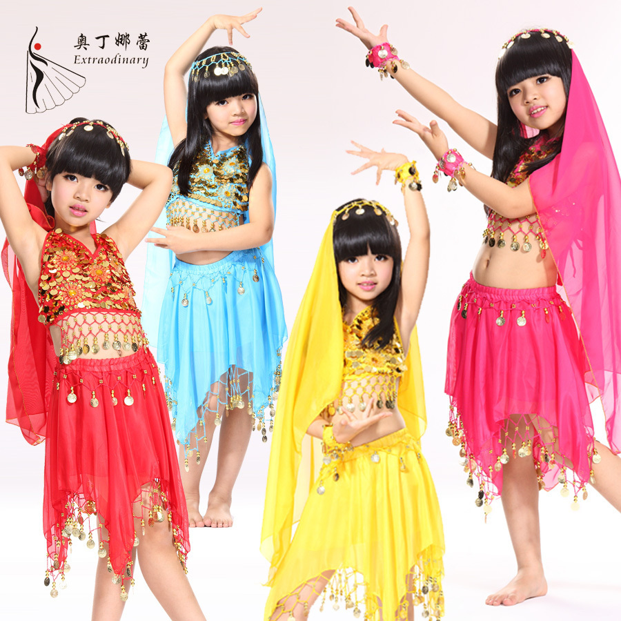 2015 Promotion Sale Kids Belly Dance Performance Costume 5 Pieces Bollywood Indian Dresses Girls Chidren Skirt Set For Child