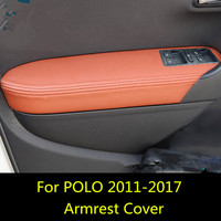4PCS Microfibre Leather Interior Doors Armrest Cover For Volkswagen POLO Hatchback 2011 12 13 14 15 16 2017 AAB064