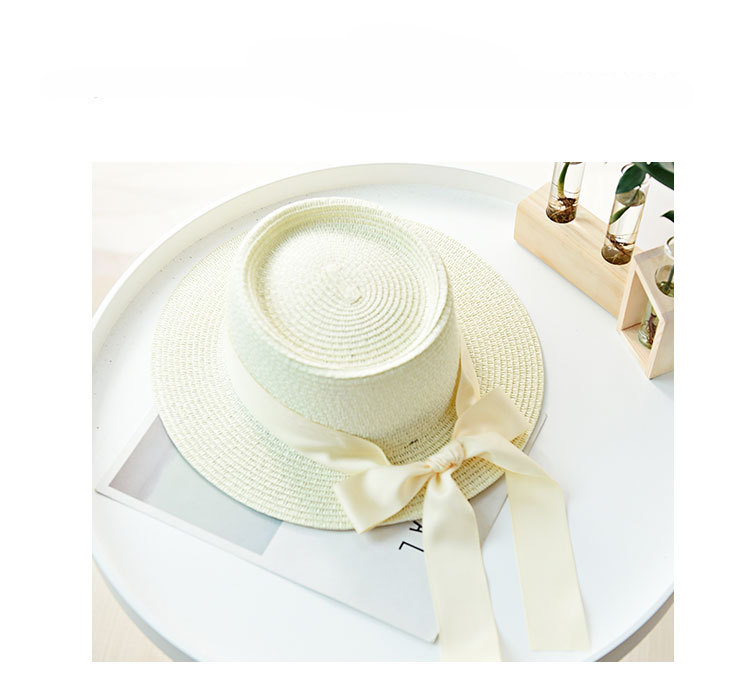 HTB1Dk 2aOzxK1Rjy1zkq6yHrVXar - Ymsaid New Summer Sun Hats Women Fashion Girl Straw Hat  Ribbon Bow Beach Hat Casual Straw Flat Top Panama Hat Bone Feminino