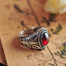 925 negro Ágata y granate rojo antiguo vne flores anillo hombres tailandés plata regalo de joyería fina anillo de dedo CH037009