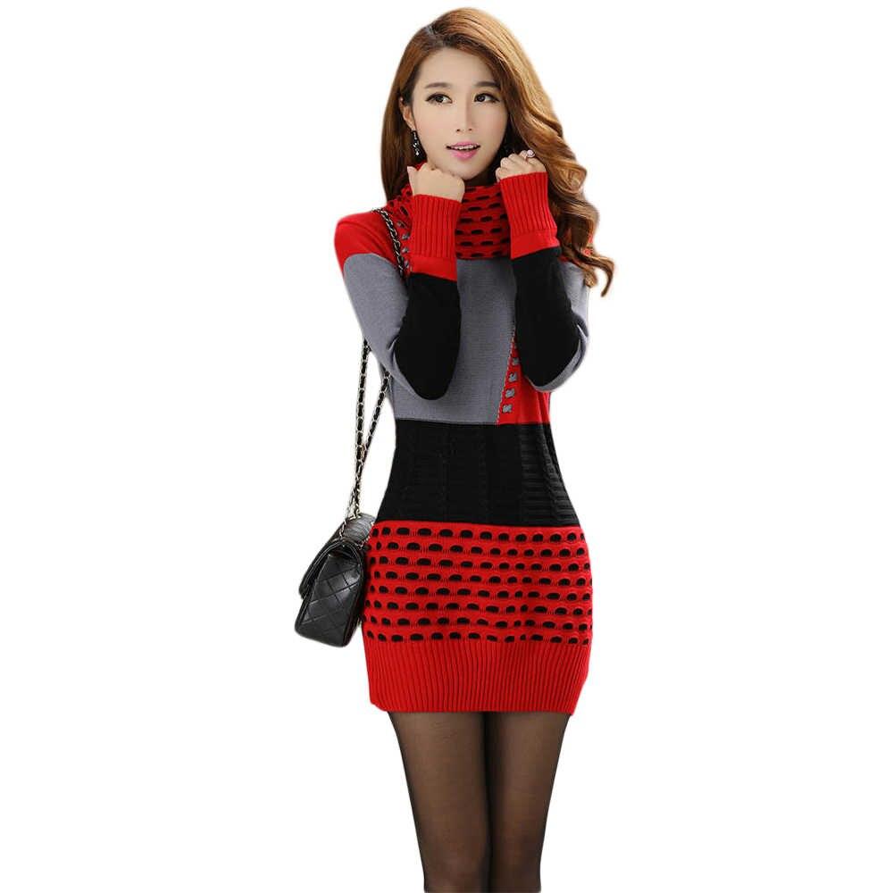 e8337bdf051 Женское зимнее платье вязаное платье Водолазка с длинным рукавом женское  платье-свитер свитера и пуловеры