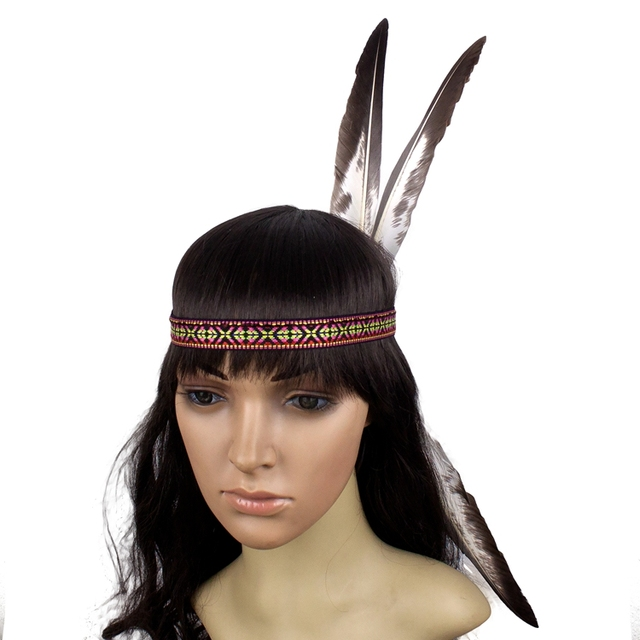Indian Feather Headdress Hand Made Native American Costumes Headwear  Feather Headband for Adults and Kids 1cfa6d96efb
