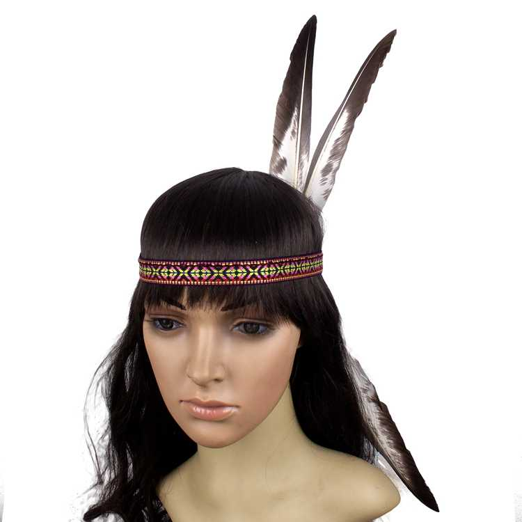 Indian Feather Headdress Hand Made Native American Costumes Headwear  Feather Headband for Adults and Kids edec71932d3