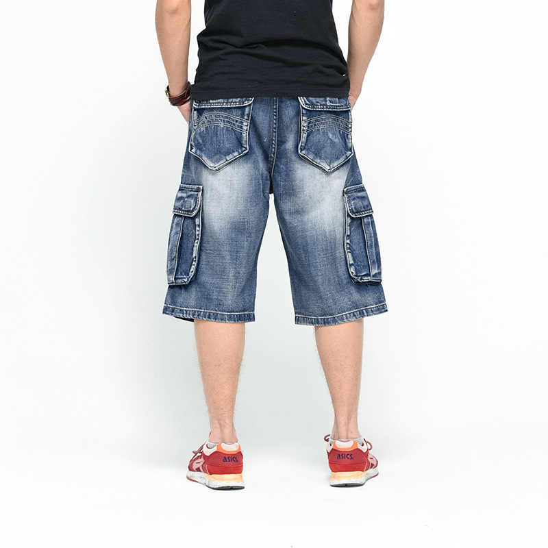 Mens Plus Size Solto Baggy Denim Short Jeans Homens Moda Streetwear Hip Hop Longo 3/4 Bolso Bermuda Capri Shorts De Carga azul macho