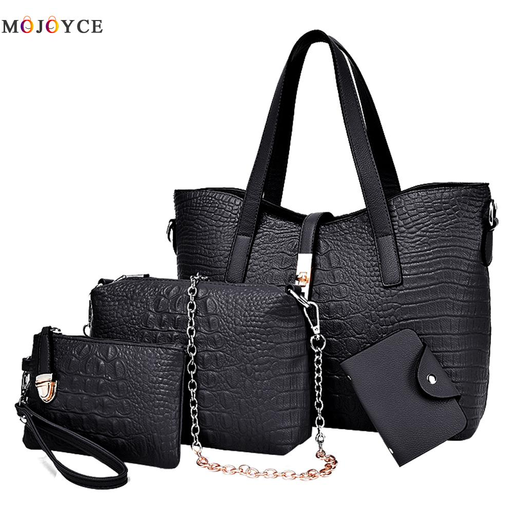 все цены на 4pcs/lot Women Bag Top-Handle Bags Female Famous Brand Women Messenger Bags Handbag Set PU Leather Composite Bag