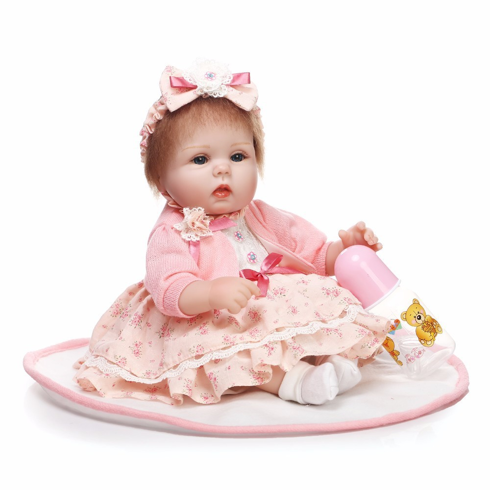 40cm Soft Silicone Reborn Baby Girl Doll Appease Lifelike Realistic Fashion Baby Doll for Children Christmas Birthday Gift