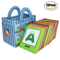 סדרת גן חיות צעצוע תינוק 26 יחידות כרטיסי אלפבית עם בד רך תיק עבור תינוק D40