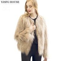 בית YJSFG 3XL פו פרווה שרוול ארוך נשים מעיל מינק בציר 2017 החורף חם להאריך ימים יותר מעיל שועל שחור לבן אפור בז 'ורוד
