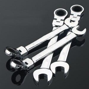 Image 5 - Gratis Schip 1Pc 6 32Mm Crv Flexibele Ratelsleutel Combinatie Hoofd Moersleutel Verstelbare Handgereedschap Voor Auto