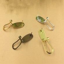 10 шт./лот, 9x20 мм, медные серьги-гвоздики, крючок, ушной зажим, базовый набор, оригинальная латунь, золото/серебро, покрытие, сделай сам, ювелирные аксессуары