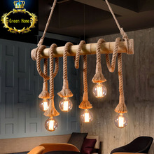 Corda vintage pendant lights lampada loft Edison cafe cafe lamp bar style American country