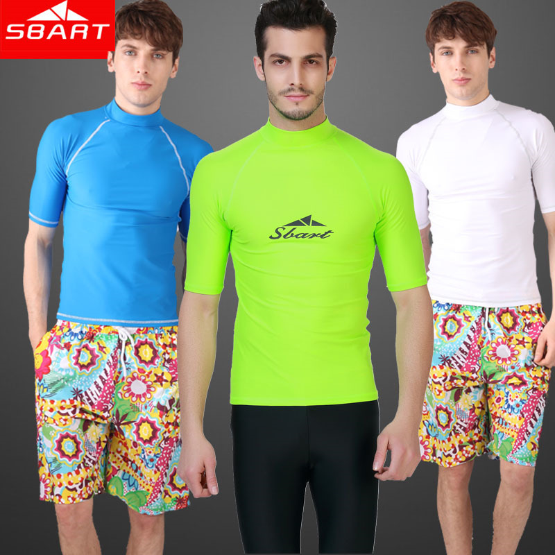 SBART Rash Guard Pánské tričko s krátkým rukávem Rashguard Swim Shirt Surf Lycra Rash Guard Plavky pro muže Potápění Wetsuit Top