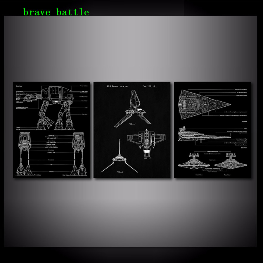 Star wars destroyer blueprint 3 pieces canvas painting print living star wars destroyer blueprint 3 pieces canvas painting print living room home decor modern wall art oil painting poster in painting calligraphy from home malvernweather Choice Image
