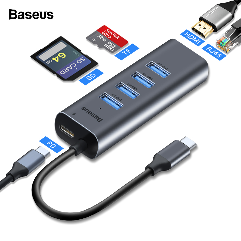 Baseus USB C HUB Type C HUB To HDMI Ethernet Multi USB 3.0 Port Thunderbolt 3 2 Power Adapter For MacBook Pro Air Dock USB-C HUB