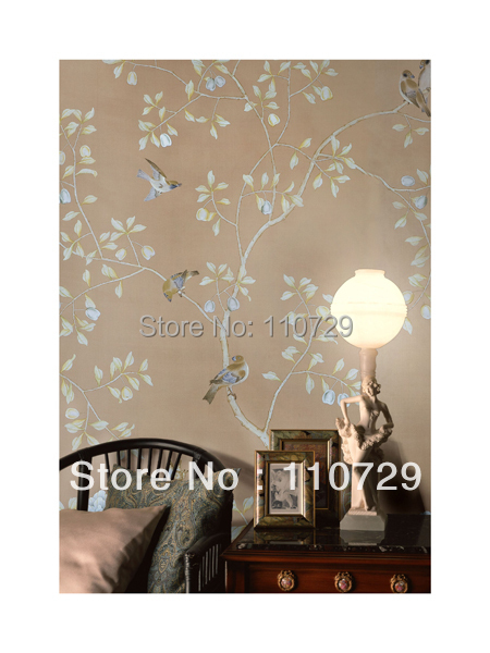 Ручная роспись стены бумага обоев ручная роспись шелковые обои картины цветок с птицами/фрукты многих искусств/фоны дополнительно