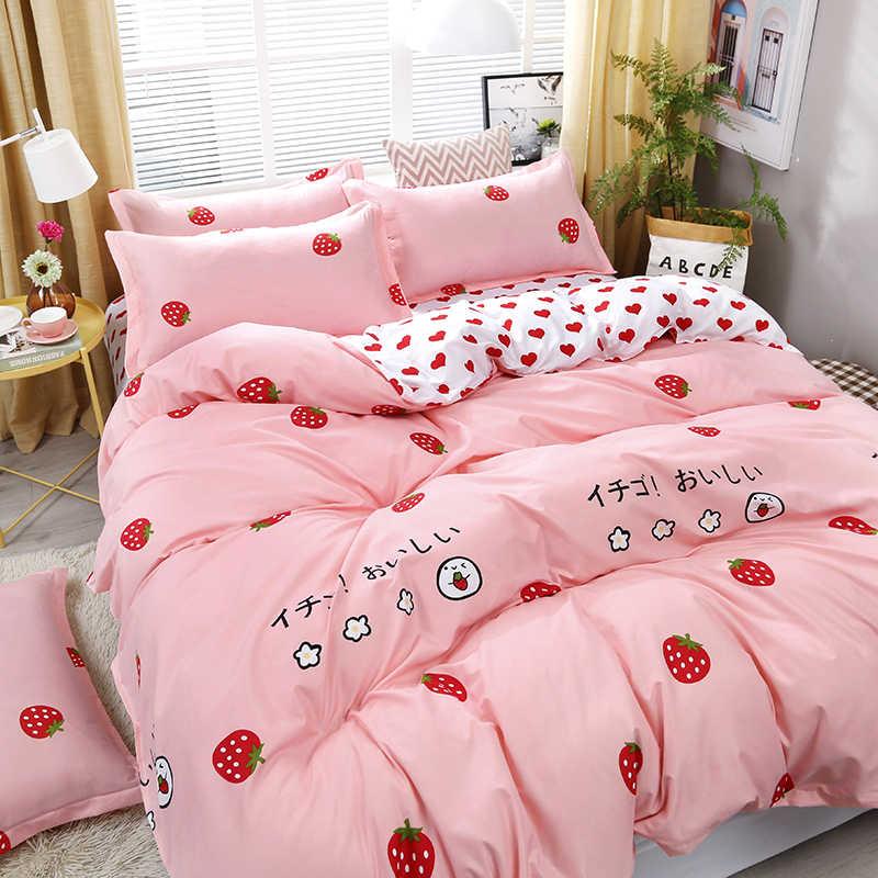 4 шт./компл. постельных принадлежностей любовь клубника розовый узор постельное белье пододеяльник простыня накидка для подушек набор