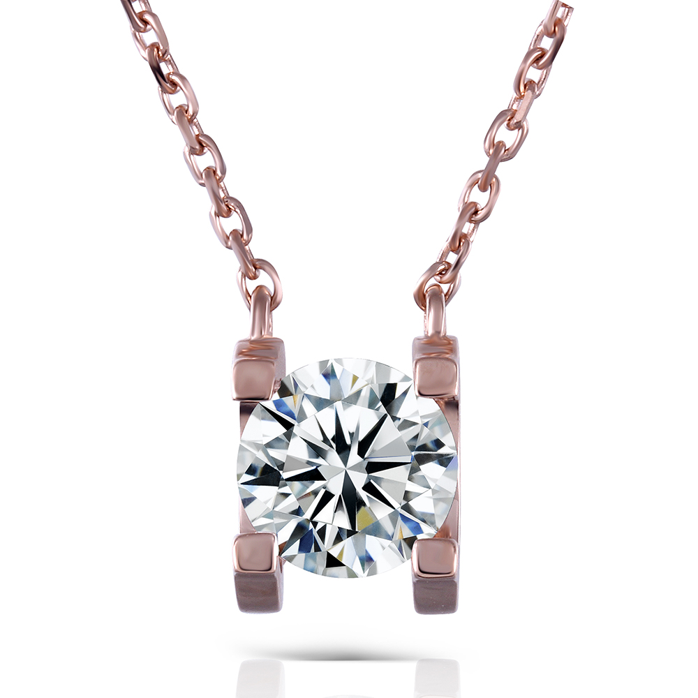 TransGems 18K Rose Gold 1 Carat Lab Grown moissanite Diamond Solitaire Pendant Necklace Solid Necklace for Women 18k 750 white gold pendant gh color round lab grown moissanite double heart necklace diamond pendant necklace for women jewelry