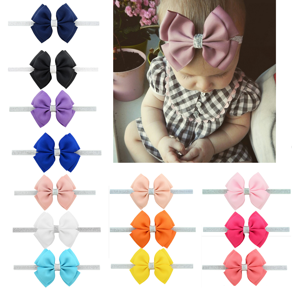 New 13 Style Baby Girl Headband Bow Grosgrain Ribbon Hair Bow Hair Band For Newborn Infant Stretch Solid Cute Accessories