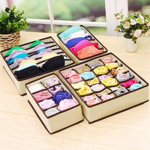 4 piezas Multi-tamaño sujetador ropa interior organizador plegable hogar caja de almacenamiento no tejido armario cajón organizador para bufandas Calcetines