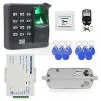 DIYSECUR Biometrische Vingerafdruk RFID 125 KHz Wachtwoord Toetsenbord Deur Toegangscontrole Systeem Kit + Elektrische Insteekslot Afstandsbediening-in Toegangscontrolekits van Veiligheid en bescherming op