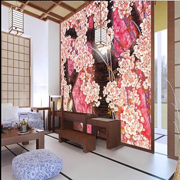 Personalizado Pintura Mural Da Parede Tradicional Japonesa Flores Hd