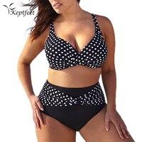 Keptfeet 2017 New Larger Size 6xl Swimsuit Bikini Sexy Polka Dot Large Cup Bar Small Bottom