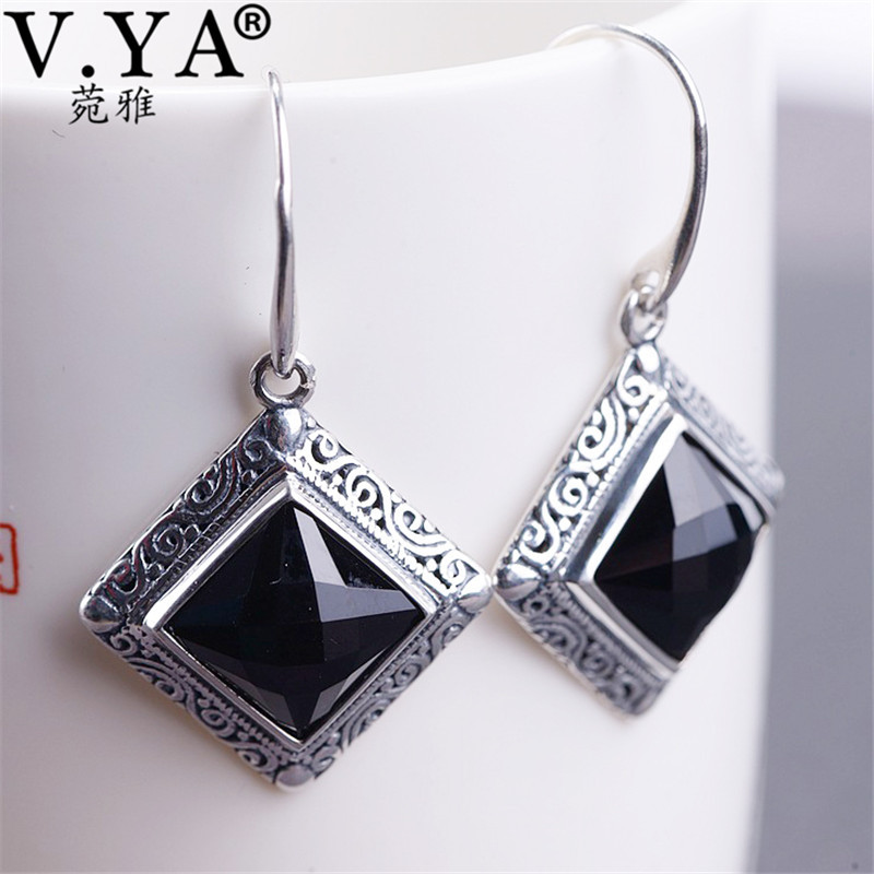V.YA Real 925 Sterling Silver Earrings with Black Onyx Stone Natural Creative Earrings Dangles for Women Brincos