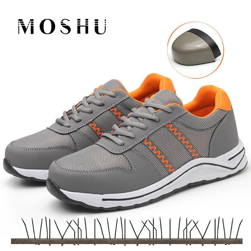 2019 Men's Working Shoes Lightweight 0.3KG Steel Toe Cap Work & Safety Boots Breathable Male Puncture Proof Boots Casual Sneaker