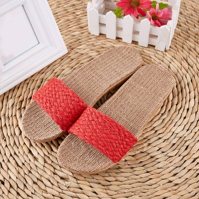 Summer Women Beach Slippers Comfortable Flax Flip Flop Female Non-slip Hemp Slides Ladies Cross-Tied Home Casual Shoes Sandals