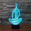 Acrílico 7 Que Cambia de Color 3D LED lamparita lámpara del dormitorio luces de la sala de meditación de acrílico Luz de la Noche Decoración IY803367