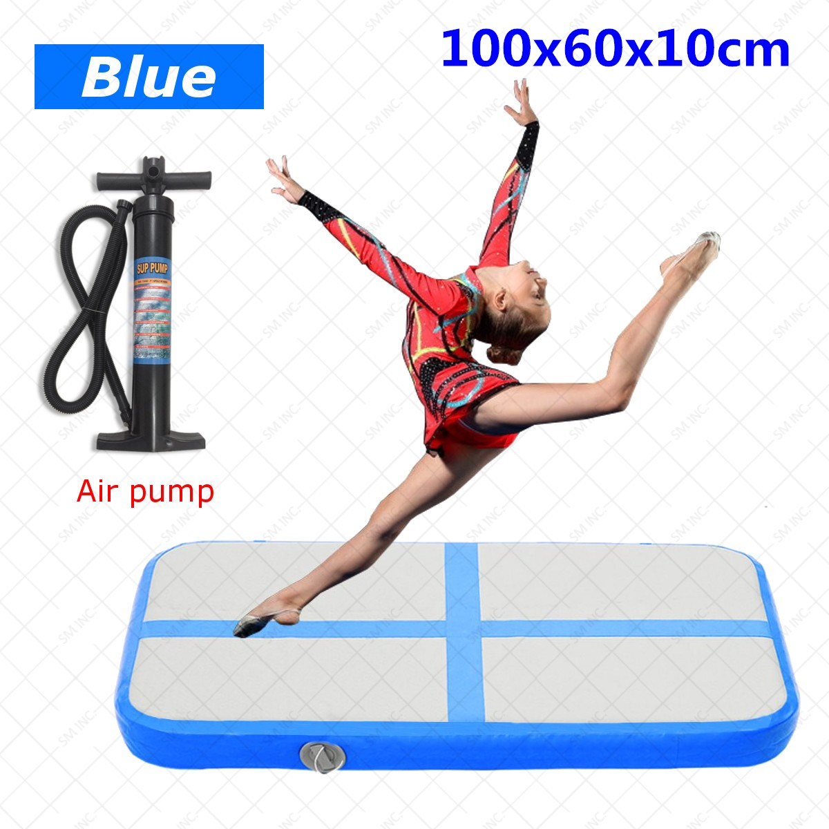 New Blue Inflatable Air Track Mat Cheerleading Gymnastics Floor Tumbling + Hand Pump free shipping 8x2m factory supply inflatable tumbling air track factory gymnastic gym mat