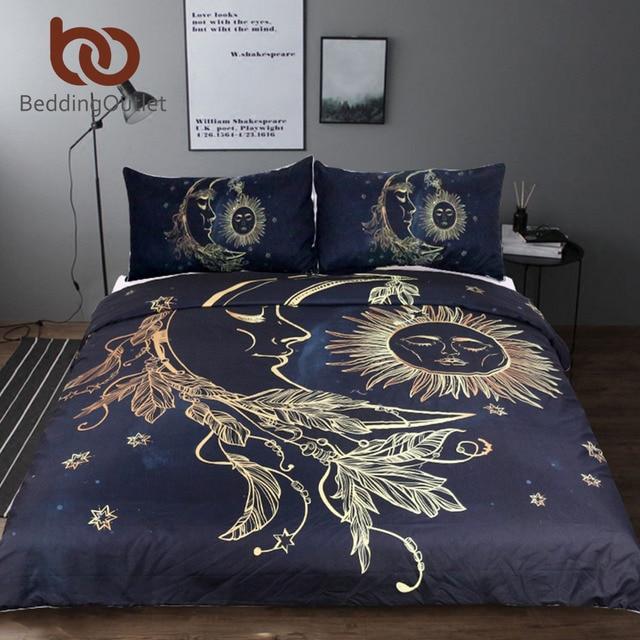 Постельные принадлежности Outlet комплект из 3 предметов Золотой Луны accompanys Защита от солнца Набор пододеяльников для пуховых одеял с наволочкой черный, темно-синий Постельное бельё King Размеры Стёганое одеяло крышка