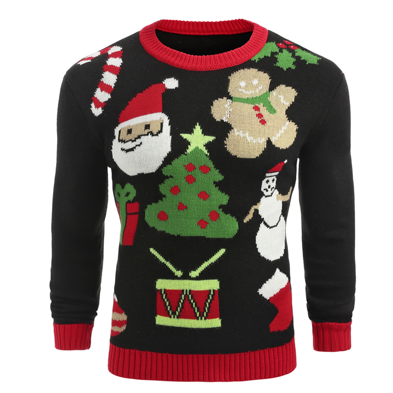 England Style Mens Knitted Sweater Christmas Cute Gift Pullovers Autumn Winter Men Santa Claus Sweater O-Neck Slim Fit Sweaters