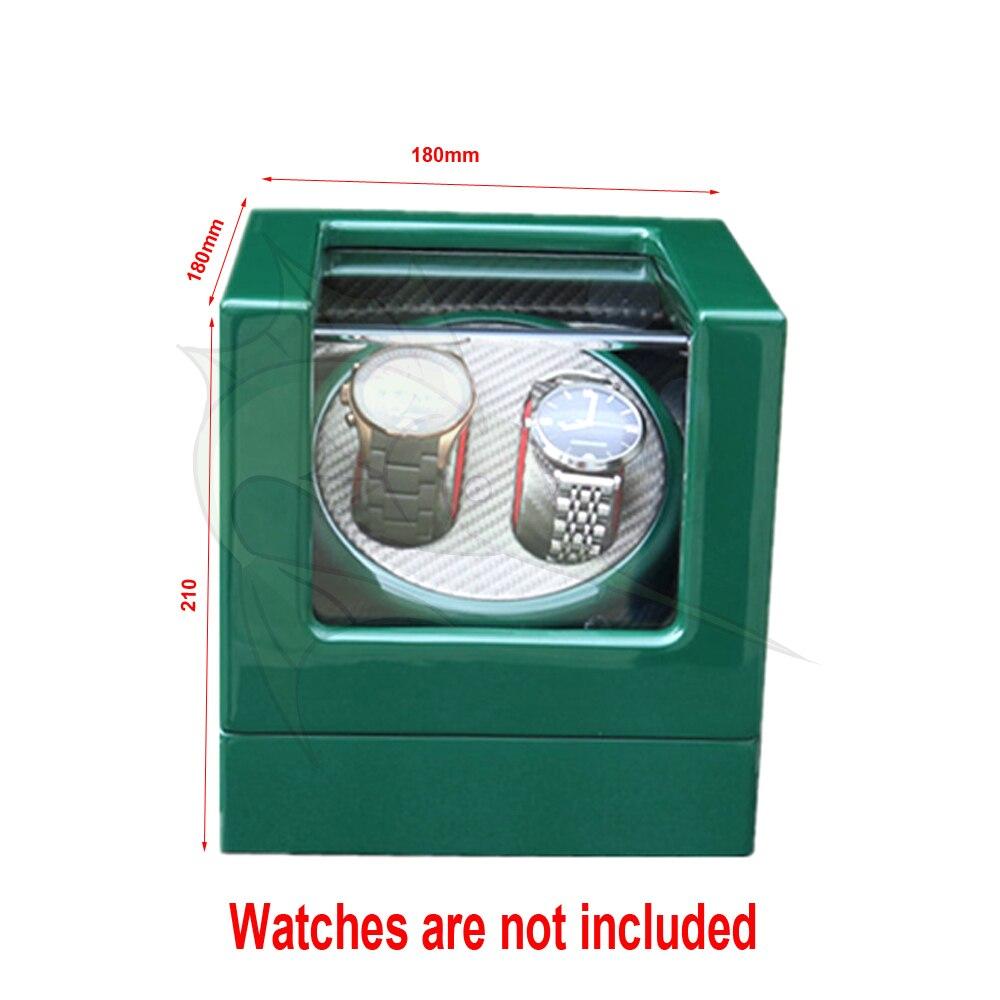 Caja de bobinadora de reloj de madera verde de alta luz 5 modos de fibra de carbono dentro del bobinador automático de reloj-in Bobinadoras de reloj from Relojes de pulsera    2