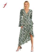 5ac855e6df Feitong fashion dress Woman Leaf Vneck Horn Long Sleeve Irregular Hem Waist  Belt plus size long