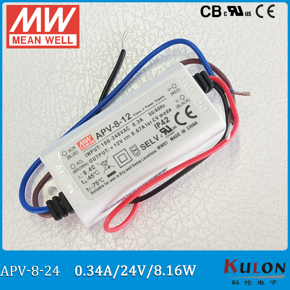 Original Meanwell LED driver 24V APV-8-24 Single Output 8.16W 24V 0.34A Mean Well Switching Power Supply APV-8 IP42 original meanwell led driver apc 16 700 16 8w 9 24v 700ma led power supply constant current mean well apc 16 ip42