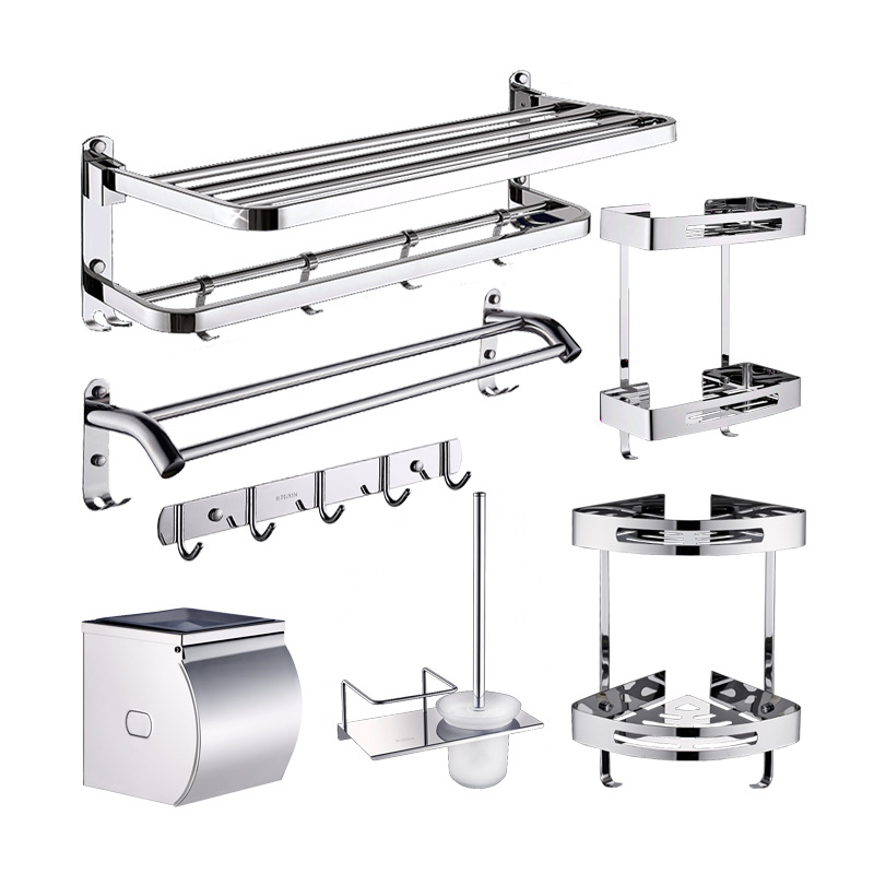 Polished Silver Paper Box 304 Stainless Steel Bathroom Hardware Sets Chrome Towel Rack Wall Mount Soap Dish Bathroom Accessories 5pcs 304 stainless steel capillary tube 3mm od 2mm id 250mm length silver for hardware accessories