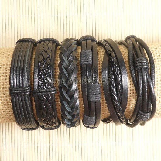 Handmade Black Leather Bracelet Simple and Strong