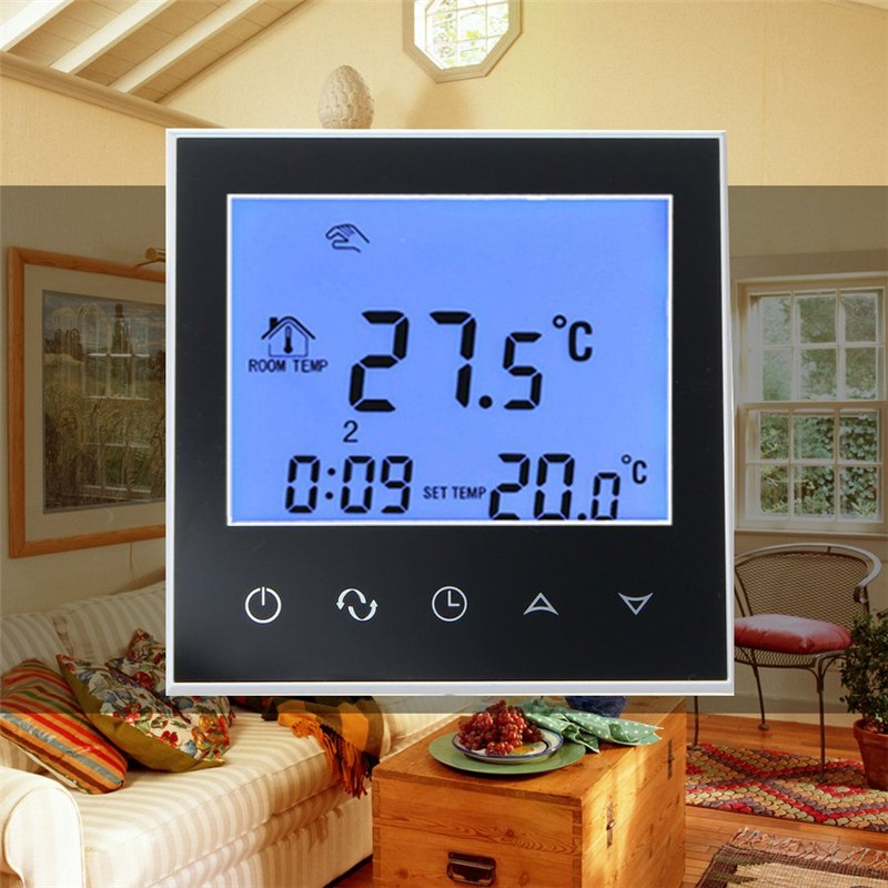 Best Price LCD Display Touch Screen Digital Room Temperature Controller Thermostat NTC Sensor White/Black For Underfloor Heating digital touch screen lcd display thermostat intelligent temperature controller white home use