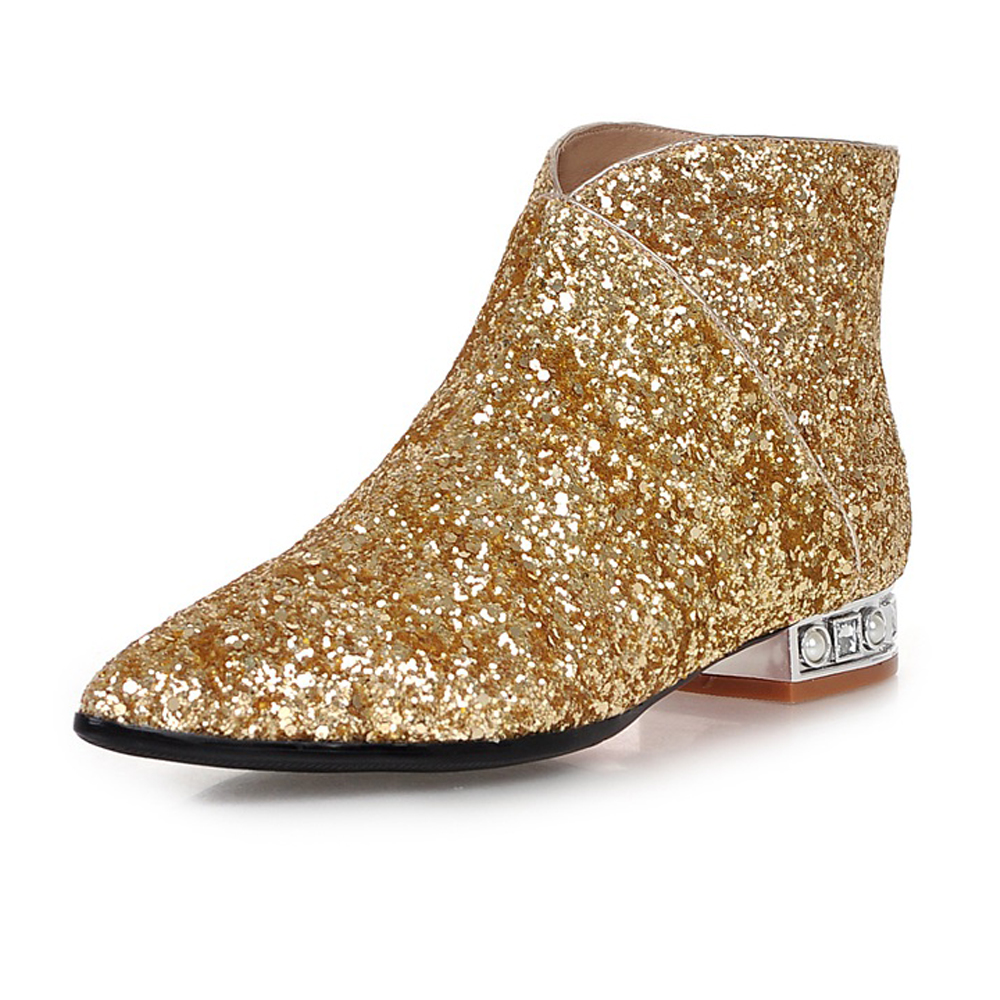 61e8f27408f Women Pointed Toe Glitter Rhinestone Red bottom ankle boots gold silver  White black Autumn And Winter Low heel Ladies Boots