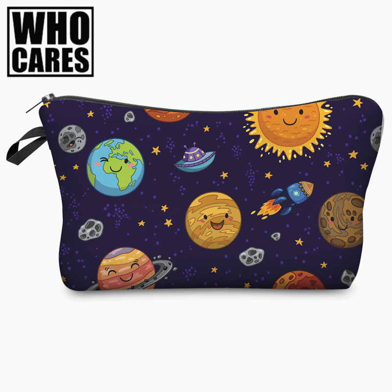 Kawaii Space Planet Funny Character 3D Print Cosmetic Bag 2017 Women Organizer Makeup Toiletry Bag with Zipper Neceser Trousse чуковский корней иванович муха цокотуха
