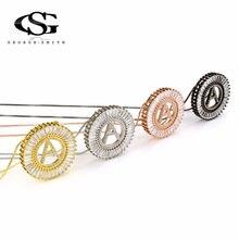 2038750f7f GS 4 Colori In Acciaio Inox Cerchio Collane con pendente Per Le Donne 26  Lettera Inglese Collana D'oro Degli Uomini Collares Lar.