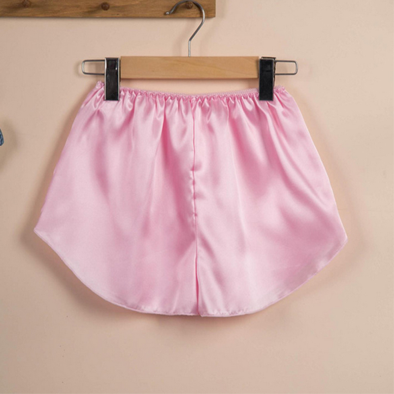 Women Sexy Silk Satin Sleep Bottoms Elastic Waist Pajama Pants Summer Pijama Shorts Ladies Pajama Bottoms Sleep Short Sleep Pant