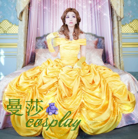 Beauty and the Beast Christmas dress Belle cosplay princess yellow dress for girl gothic dress costumes