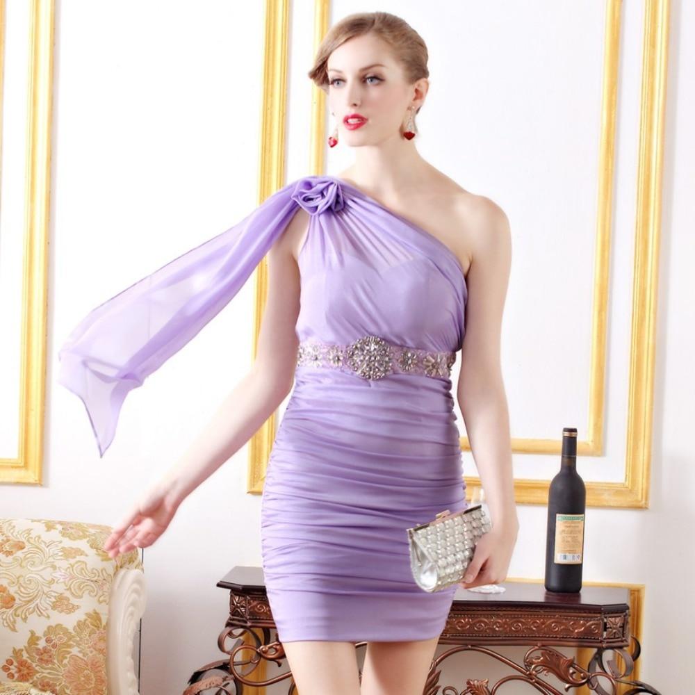 Baratos Elegante luz púrpura de un hombro moldeado cristalino Sash ...