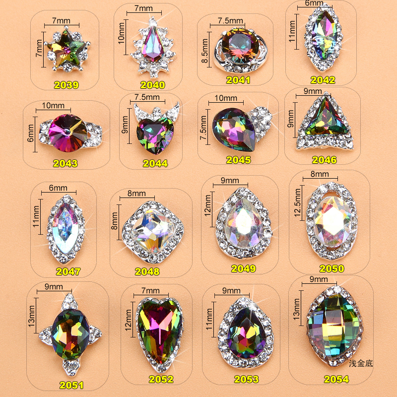 Купить с кэшбэком 100pcs/pack New High Quality AB Rhinestone Alloy Nail Art Decorations Glitter Charm 3D Nail Jewelry DIY Manicure Supplies